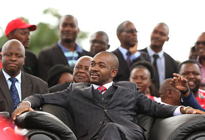 Nelson Chamisa at the funeral of Morgan Tsvangirai in Harare, 19 February 2018. (Pic: Xinhua/Shaun Jusa)