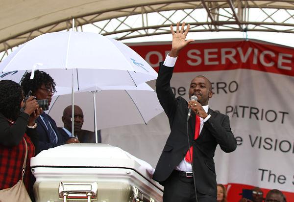 Nelson Chamisa at the burial of Morgan Tsvangirai. Pic: Shaun Jusa/Xinhua News Agency/PA Images