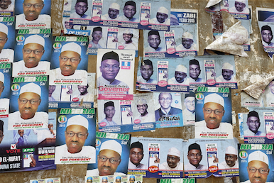 KADUNA: APC election campaign posters pasted on a wall. Samuel Aranda | Panos