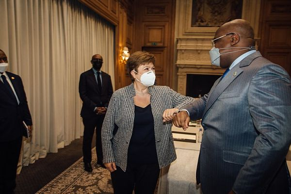 Kristalina Georgieva meets with Democratic Republic of the Congo President Félix Tshisekedi at the Four Seasons Hotel George V. Pic: IMF Photo/Cyril Marcilhacy