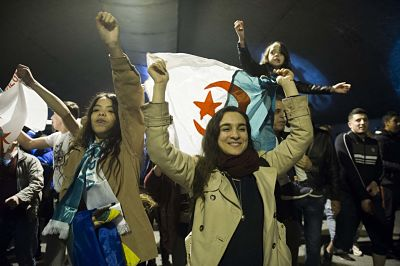 Algerians celebrate Bouteflika's resignation. Pic: Ammi Louiza/ABACA/ABACA/PA Images