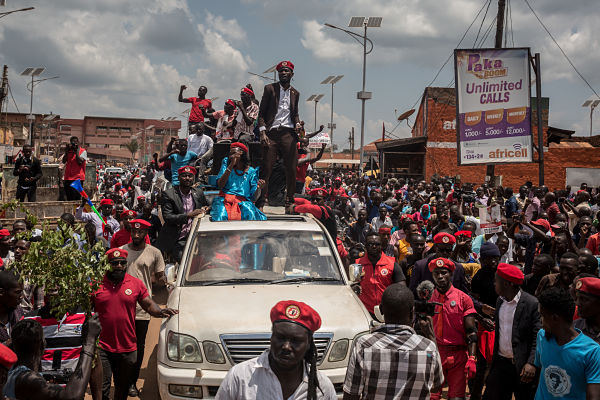 Bobi Wine on campaign. Hoima, September 2019. (Pic: Sally Hayden/SOPA Images/SIPA USA/PA Images)