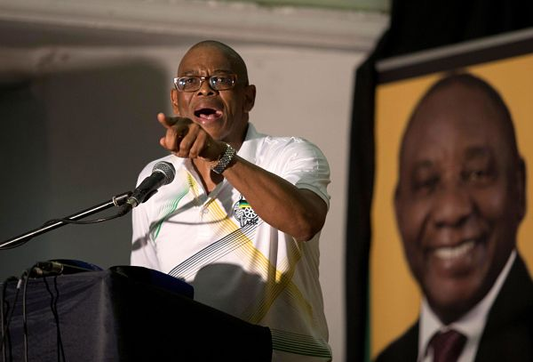 Ace Magashule speaks at an ANCYL rally in Pietermaritzburg, January 2018. Pic: Rogan Ward / Reuters / Alamy