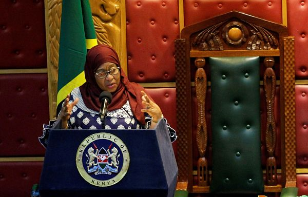 Tanzanian President Samia Suluhu Hassan addresses a joint Parliament session of Kenyan Members of Parliament and Senators in Nairobi, Kenya, 5 May 2021. Pic: Monicah Mwangi / Reuters / Alamy
