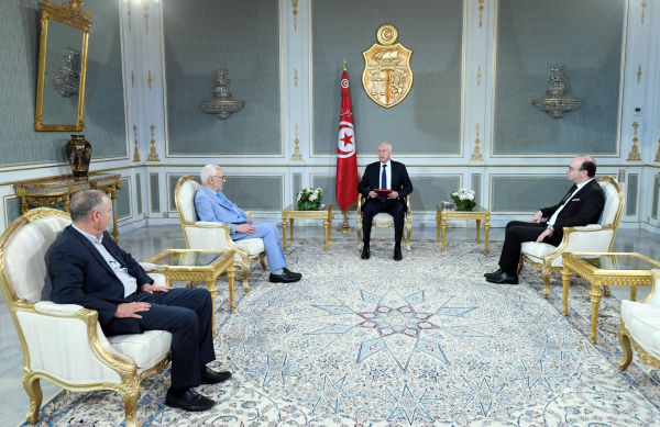 Tunisian President Qais Saïed (2nd R) meets with Parliament Speaker Rachid Ghannouchi (2nd L) and Prime Minister Elyes Fakhfakh (1st R) in Tunis, Tunisia, on 15 July 2020. Pic: Xinhua News Agency/PA Images