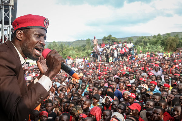 Bobi Wine campaigns in Hoima, Uganda, September 2019. Pic: Sally Hayden/SOPA Images/SIPA USA/PA Images