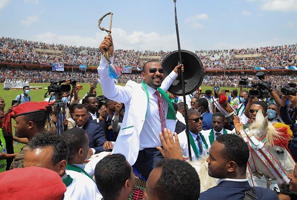 Jimma, 16 June 2021. Abiy Ahmed attends his last campaign event ahead of Ethiopia's parliamentary and regional elections.  Pic: Tiksa Negeri / Reuters / Alamy
