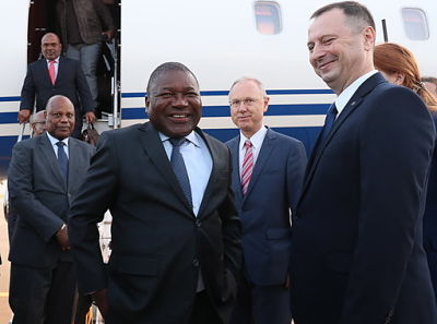 President Nyusi arrives in Sochi for Russia-Africa Economic Forum. Pic: Alexander Ryumin/Tass/PA Images