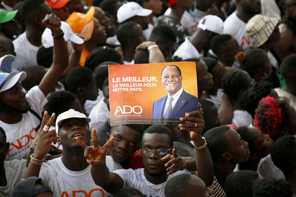 Ouattara supporters in Abobo, 29 October 2020. Pic: Yvan Sonh/Xinhua News Agency/PA Images