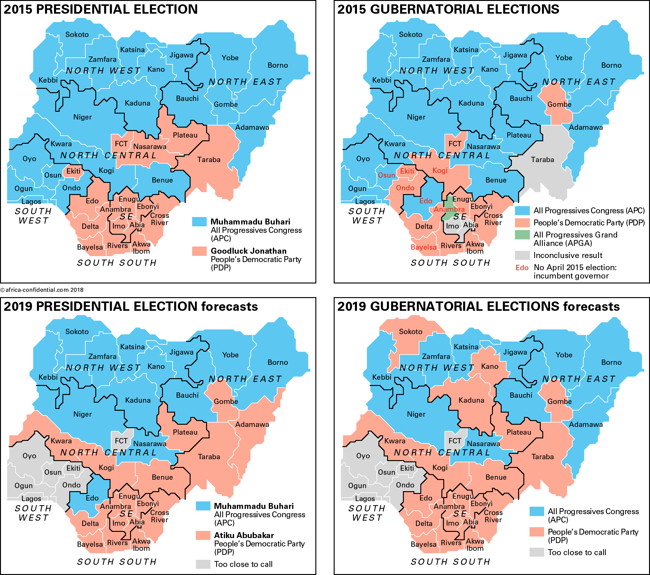 Nigeria Elections Maps Copyright © Africa Confidential 2018